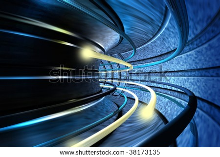 Bolts of light speeding through the acceleration tunnel - stock photo