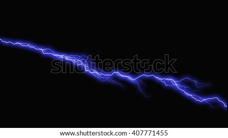 Bolts of lightning extend horizontally across  - stock photo