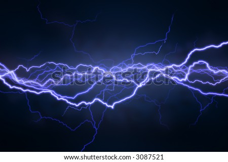 Bolts of lightning extend  horizontally across a black background - stock photo