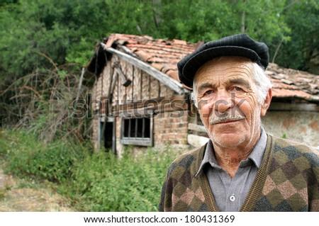 BOLU, TURKEY - JULY 6: Village man portrait at Bolu Pleatau on July 6, 2005 in Bolu, Turkey. - stock photo