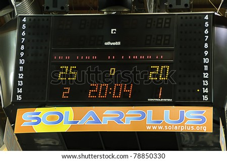 BOLZANO, ITALY - MARCH 27: the scoreboard of the arena shows the final score of CEV Volley Champions League 2010/2011 final match, Trentino Betclic vs Zenit Kazan, in Bolzano on March 27, 2011