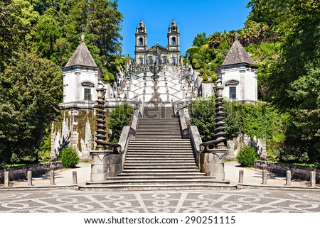Bom Jesus do Monte is a Portuguese sanctuary near Braga, Portugal - stock photo