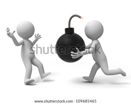 bomb / A people took the bomb sent to another one - stock photo