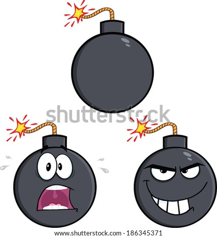 Bomb Cartoon Mascot Characters 2. Raster Collection Set - stock photo