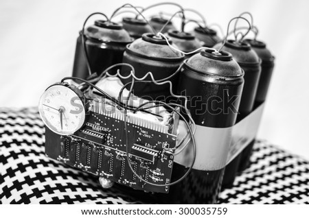 bomb gas terrorism black white - stock photo