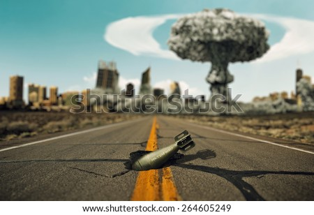 Bomb on the road. Background a nuclear explosion. - stock photo