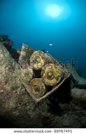 Bomb shells, still packed in their crate, on the shipwreck of the SS Thistlegorm. SS Thistlegorm, Straights of Gubal, Red Sea, Egypt.
