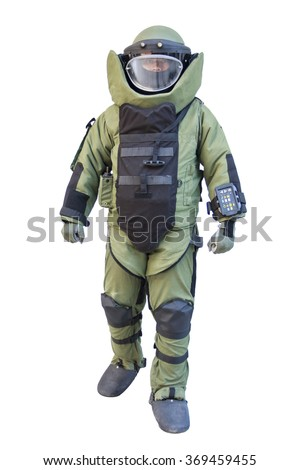 Bomb suit isolated on white for EOD team - stock photo