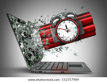 Bomb with clock timer exit by a monitor of laptop screen  High resolution 3d  - stock photo