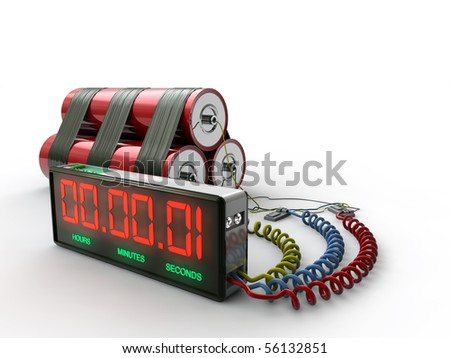 bomb with digital counter isolated on white background