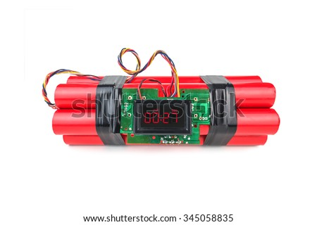 bomb with digital timer isolated - stock photo