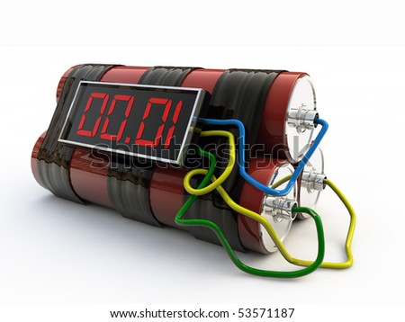 bomb with digital timer isolated on white background - stock photo