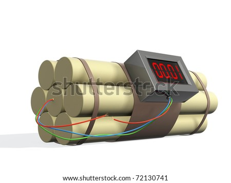 Bomb with the broken off wire. Isolated over white - stock photo