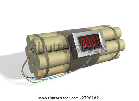Bomb with the included timer - stock photo