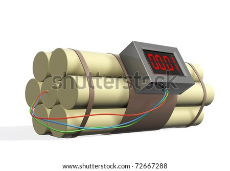 Bomb with the included timer. Isolated over white - stock photo