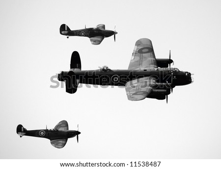 Bomber and escorts shot taken from above! - stock photo