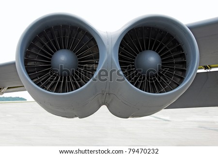 bomber twin jet engines closeup