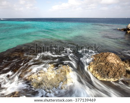 Bonaire water in motion - stock photo