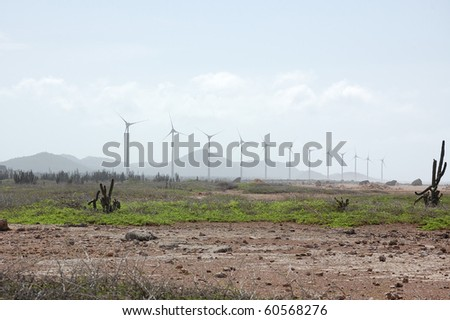 Bonaire windmills provide power to the island. - stock photo