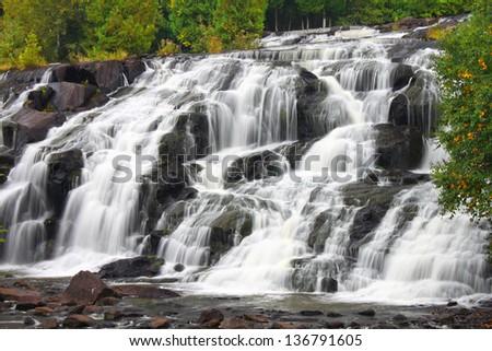 Bond Falls is a beautiful waterfall in the upper peninsula of Michigan - stock photo