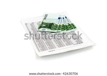 bond of euro on top white document - stock photo