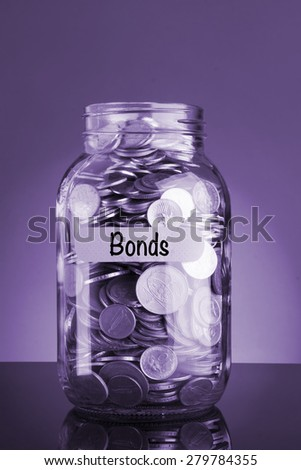 Bond Text with money coins in purple background - stock photo
