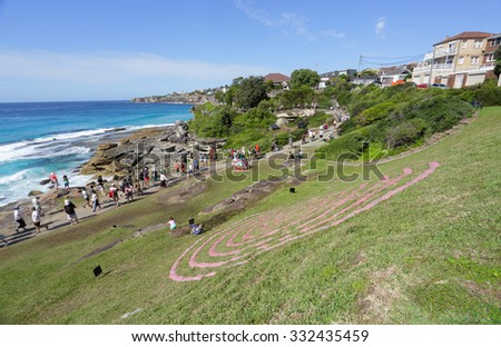 BONDI, AUSTRALIA - OCTOBER 25, 2015;  Annual Sculpture by the Sea free public event.  Exhibit titled Fabrication by Veronica Herber - using minamalist lines to allow the landscape to inform the work. - stock photo