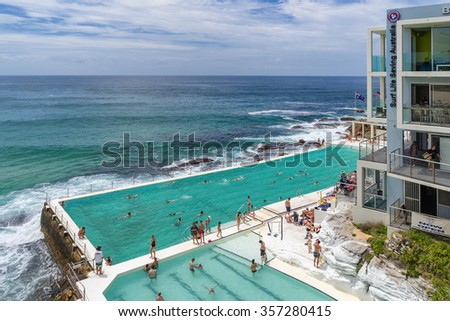 Bondi,Australia on 2nd Jan 2015: Bondi Beach or Bondi Bay is a popular beach and the name of the surrounding suburb in Sydney, New South Wales, Australia - stock photo