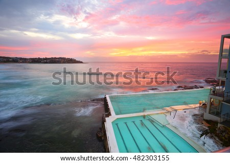 Bondi Australia, views over the southern rockshelf at sunrise taking in the ocean rockpool.