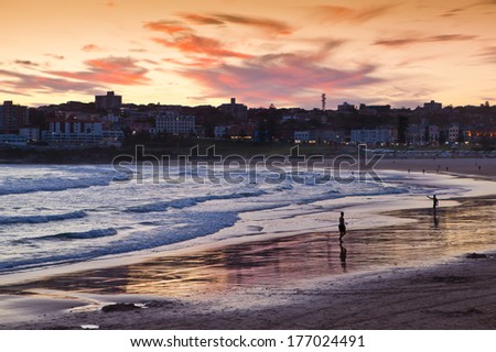 Bondi Beach at sunset - stock photo