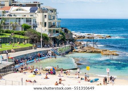 BONDI BEACH, AUSTRALIA - OCTOBER 2015: People relax on the beach on a beautiful day. Bondi Beach is a famous place in Sydney.