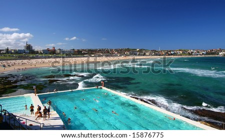 Bondi Beach in Sydney, Australia on a summer's day - stock photo