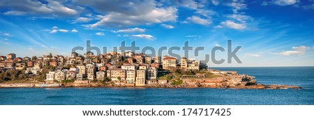 Bondi Beach panoramic view - Sydney, Australia. - stock photo