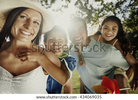 Bonding Family Father Mother Son Daughter Love Concept - stock photo