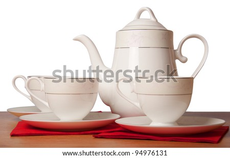Bone china tea set isolated