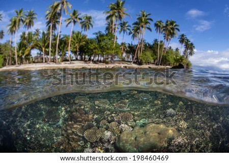 Bonegi Beach on the island of Guadalcanal in the Solomon Islands is fringed by a coral reef and even a few shipwrecks sunk during World War II. - stock photo