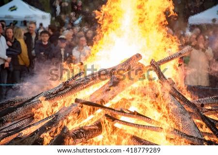 Bonfire at Valborg day, Solna - stock photo