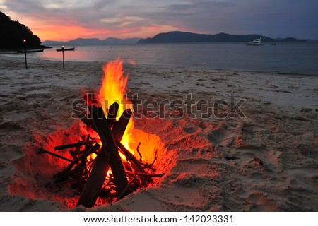 Bonfire camping on the beach