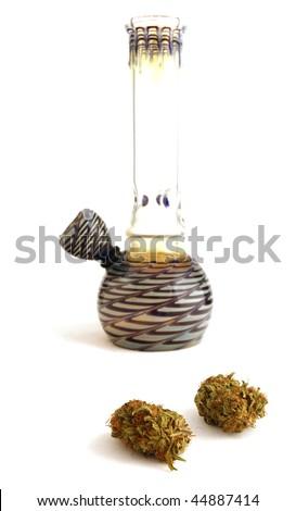 Bong and marijuana buds - stock photo