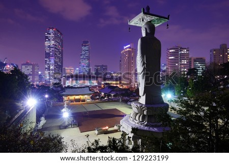 Bongeunsa Temple in the Gangnam District of Seoul, Korea. - stock photo