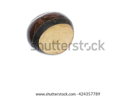 Bongo on a white background,Bongo drum vintage made from coconut shells.(select focus front Leather bongo drums) - stock photo