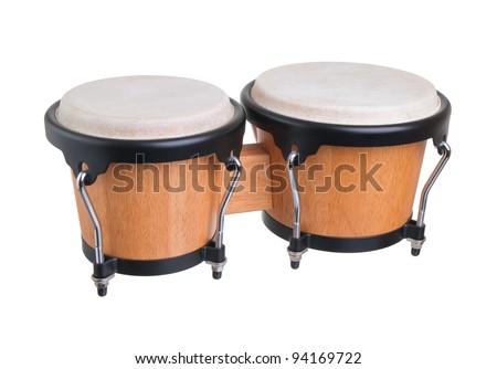 bongos on a white background - stock photo