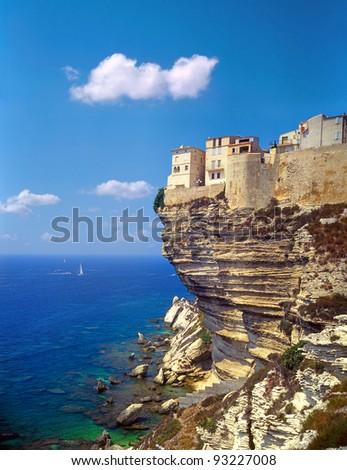 Bonifacio, old town at sea cliff, Corsica, France - stock photo