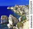Bonifacio - town on rocks, Corsica - stock photo