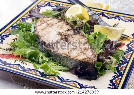 bonito steak gegrillt - stock photo