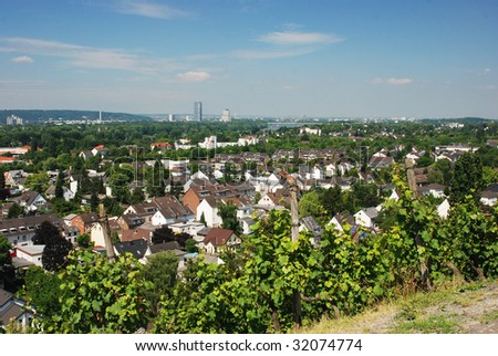 Bonn and River Rhine viewed from Oberdollendorf - stock photo