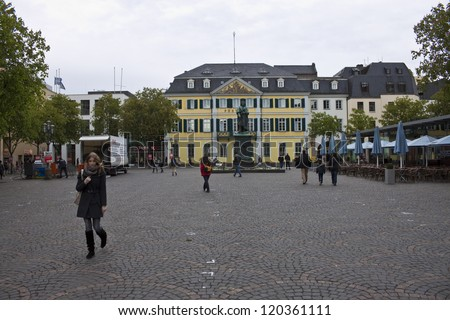 BONN, APRIL 26: Muensterplatz square and a Beethoven statue in Bonn, Germany on April 26, 2012. Ludwig van Beethoven was a German composer and pianist born in 1770 in Bonn. - stock photo