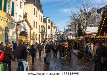 BONN, GERMANY - DECEMBER 8: Christmas market on December 8, 2012 in Bonn, Germany. There are 170 stalls at this market. - stock photo