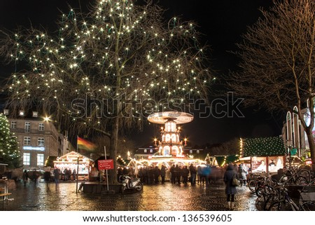 BONN, GERMANY - DECEMBER 4: Christmas market on December 4, 2012 in Bonn, Germany. There are 170 stalls at this market. - stock photo