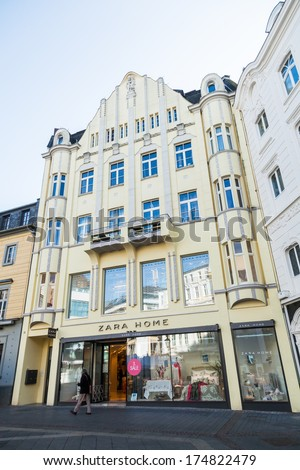 bonn germany january 31 zara store in a historical building with unidentified person on. Black Bedroom Furniture Sets. Home Design Ideas